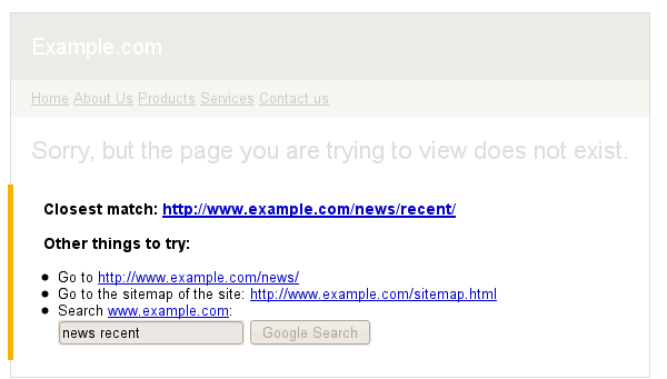 webmasters google 404 widget