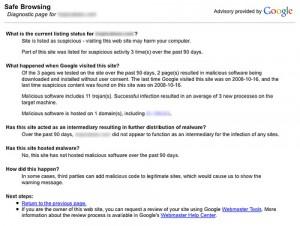 אזהרה של גוגל על וירוסים או טרויאנים באתר