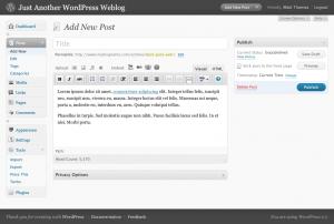 צילום מסך של פאנל הניהול החדש בוורדפרס 2.7